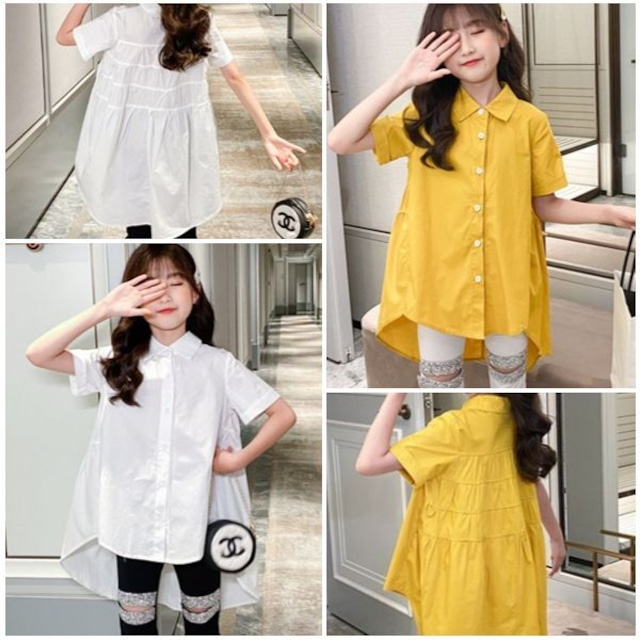 120〜165cm 2カラー★シャツ ロングシャツ カジュアル チュニック  半袖