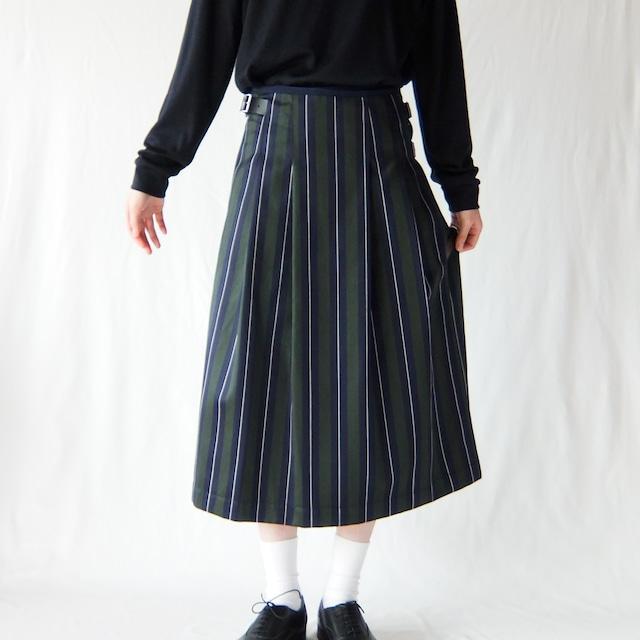 HAND ROOM WOMEN'S  - レジメンタルストライプ キルトスカート - Green Stripe / Grey Stripe