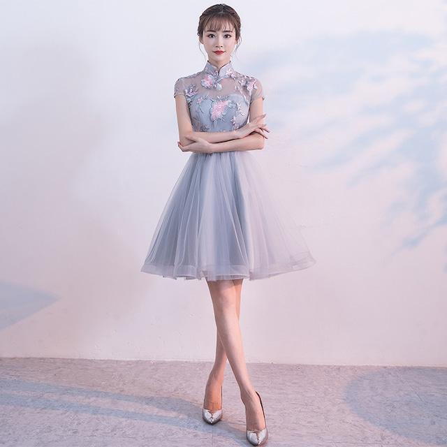 ショートチャイナドレス 刺繍チャイナドレス チャイナ風ワンピース パーティードレス 半袖 大きいサイズ XS S M L LL 3L チャイナ風服 二次会 入園式 卒業式 女子会 グレー ピンク