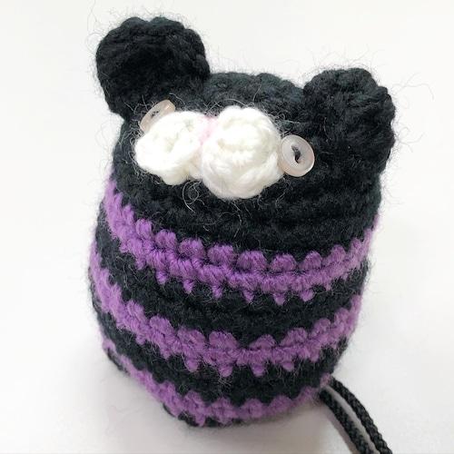 ねこ 黒紫ストライプ チョークボール cb-735