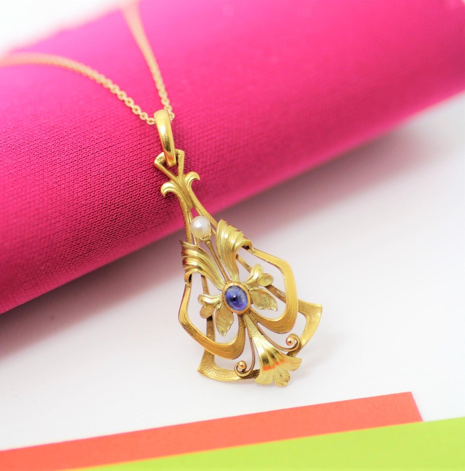 Sapphire & Pearl Gold Pendant  サファイヤ & パール ゴールド ペンダント