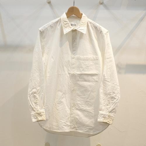 KUON(クオン) CIRCLE特注 生成りアップサイクル切り替えシャツ(襟・カフ)