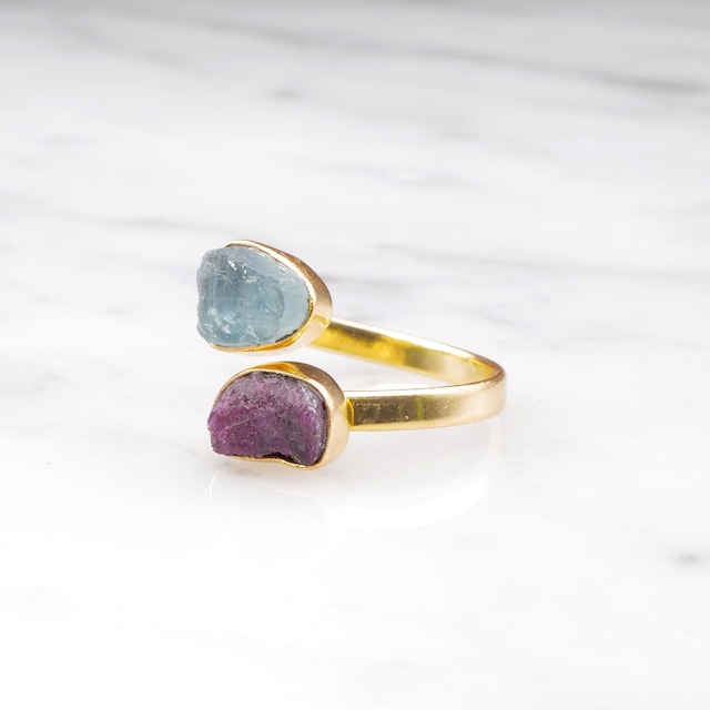 DOUBLE DIFFERENT STONE OPEN RING 005