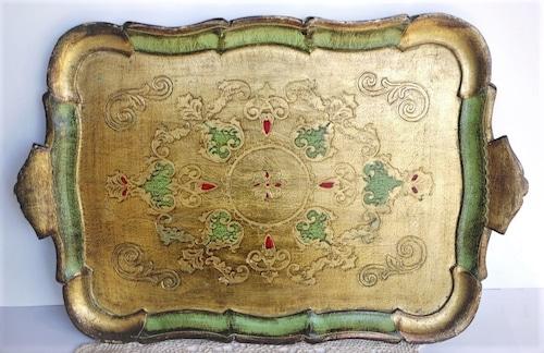 フィレンツェトレイ 木製金彩伝統工芸  大型盆