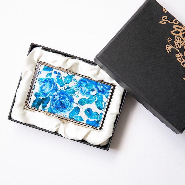 天然貝 名刺カードケース(ブルーローズ・GA)シェル・螺鈿アート