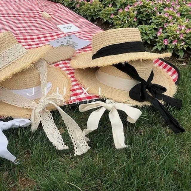 lace ribbon hat 3color