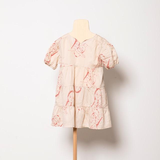 folk made  face print dress ( beige print) M・Lサイズ F21SS-012 ※メール便1点までOK