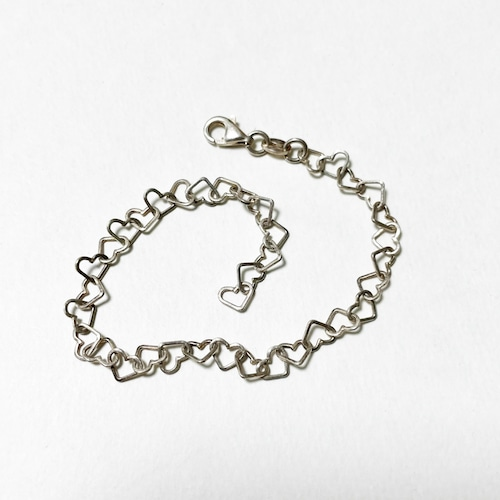 Vintage 925 Silver Heart Chain Bracelet Made In Italy