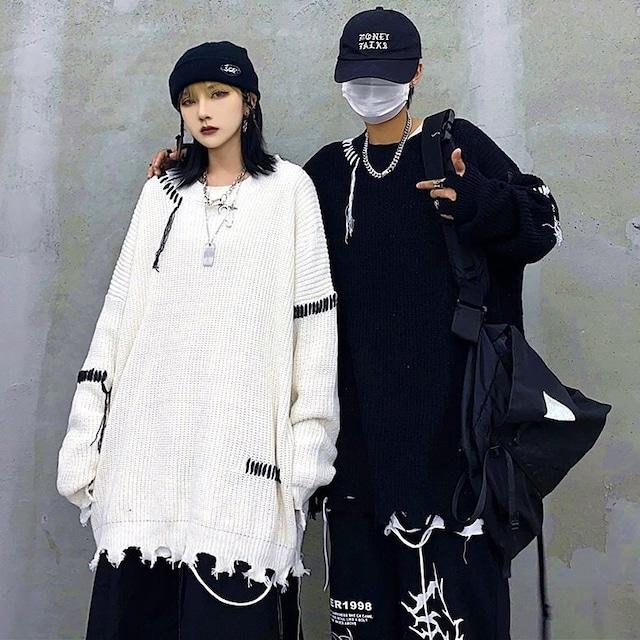 【トップス】韓国系無地切り替えストリート系ファッションセーター42919352