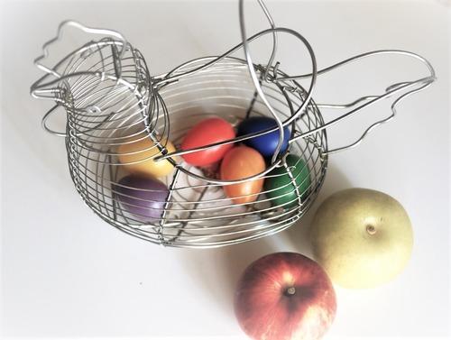 ワイヤーバスケット 雄鶏型 卵かご フルーツバスケット