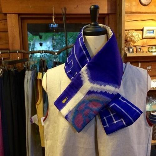 銘仙×リネン刺繍の小さな襟巻き7158/八月のうさぎ 着物 古布 リメイク ストール プチマフラー ネックウォーマー