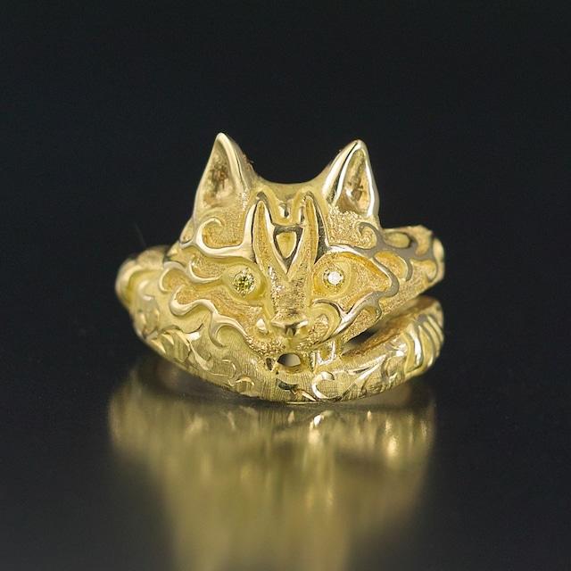 受注制作 妖怪ジュエリー 妖怪指輪 『 猫又 』 18金*非加熱イエローダイヤモンド