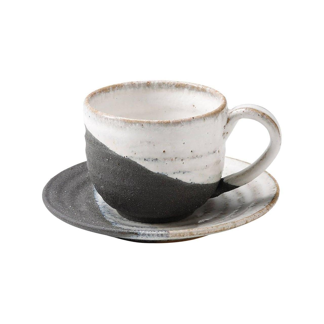 信楽焼 へちもん コーヒーカップ&ソーサー 約180ml 掛け分け MR-3-3274