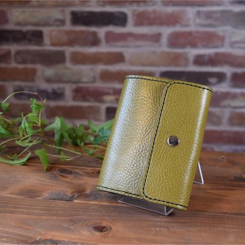 【受注制作】シンプルデザインの2つ折り財布(シュリンクレザー)(KA076b2)