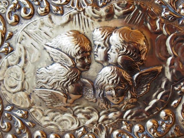 イギリスアンティーク エンジェルの真鍮トレイ