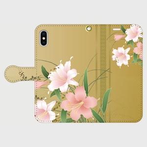 博多献上×花百合(ゴールド) iPhone専用・手帳型(帯あり)
