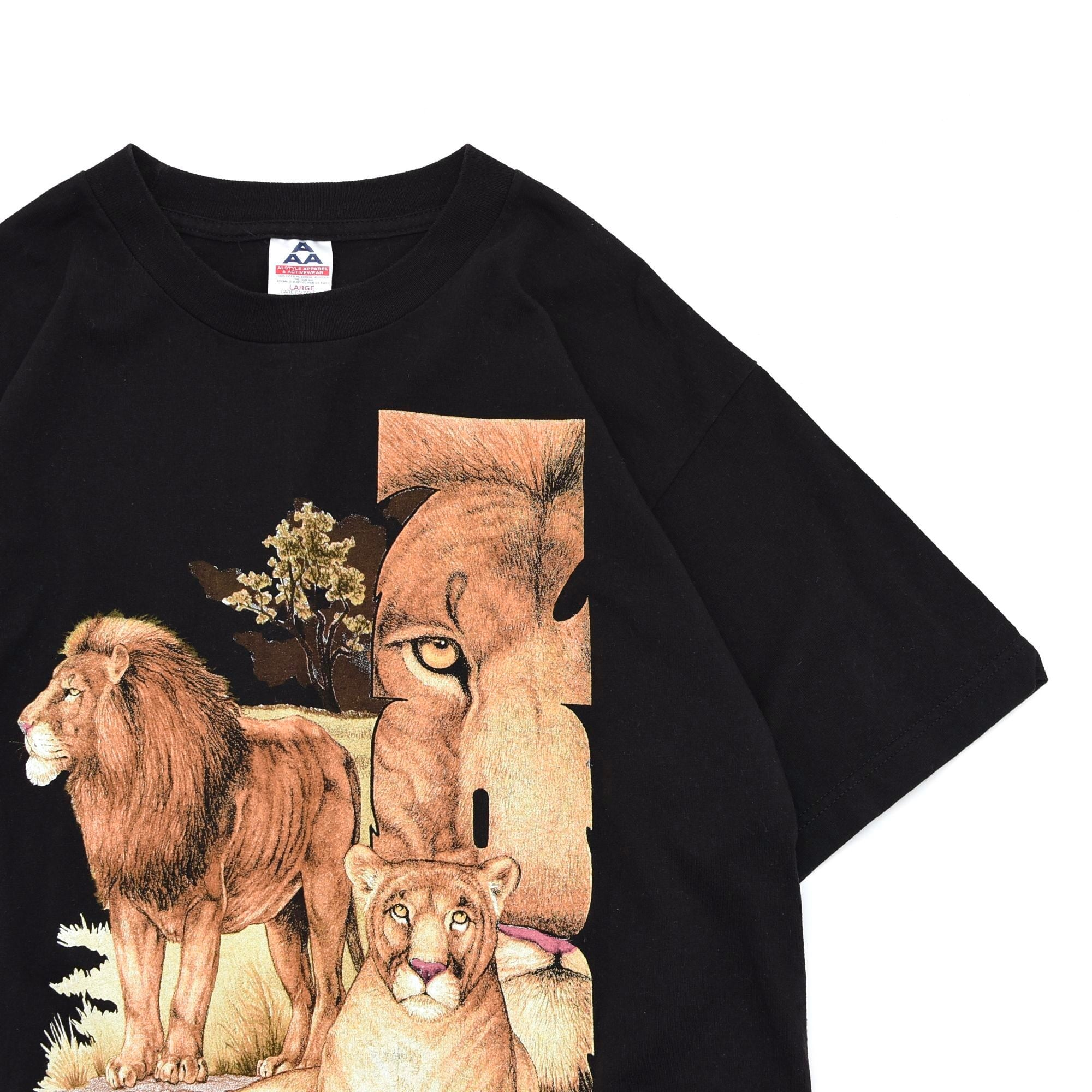 "90s〜 AAA King of Beasts ""LION"" animal print T shirt"
