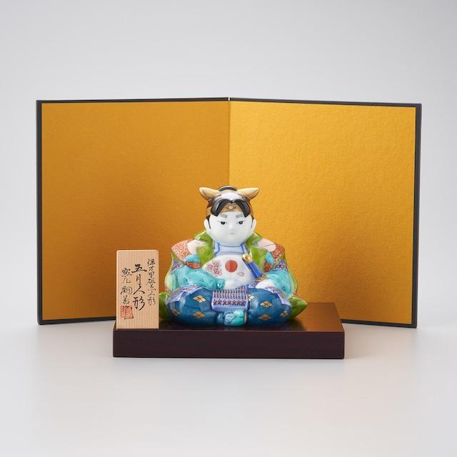 【畑萬窯】染錦 桃太郎飾置物