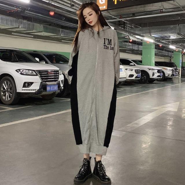 【ワンピース】フード付きカジュアル切り替えファッションシンプルワンピース38723332
