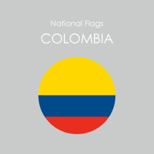 円形国旗ステッカー「コロンビア」