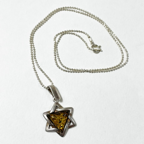 Vintage Baltic Amber & 925 Silver Star Of David Pendant Necklace