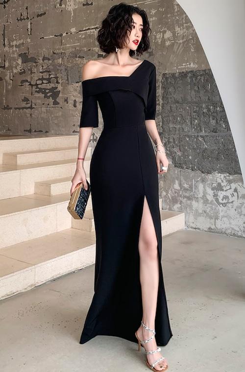 ブラック ロングドレス マット パーティードレス TM0052