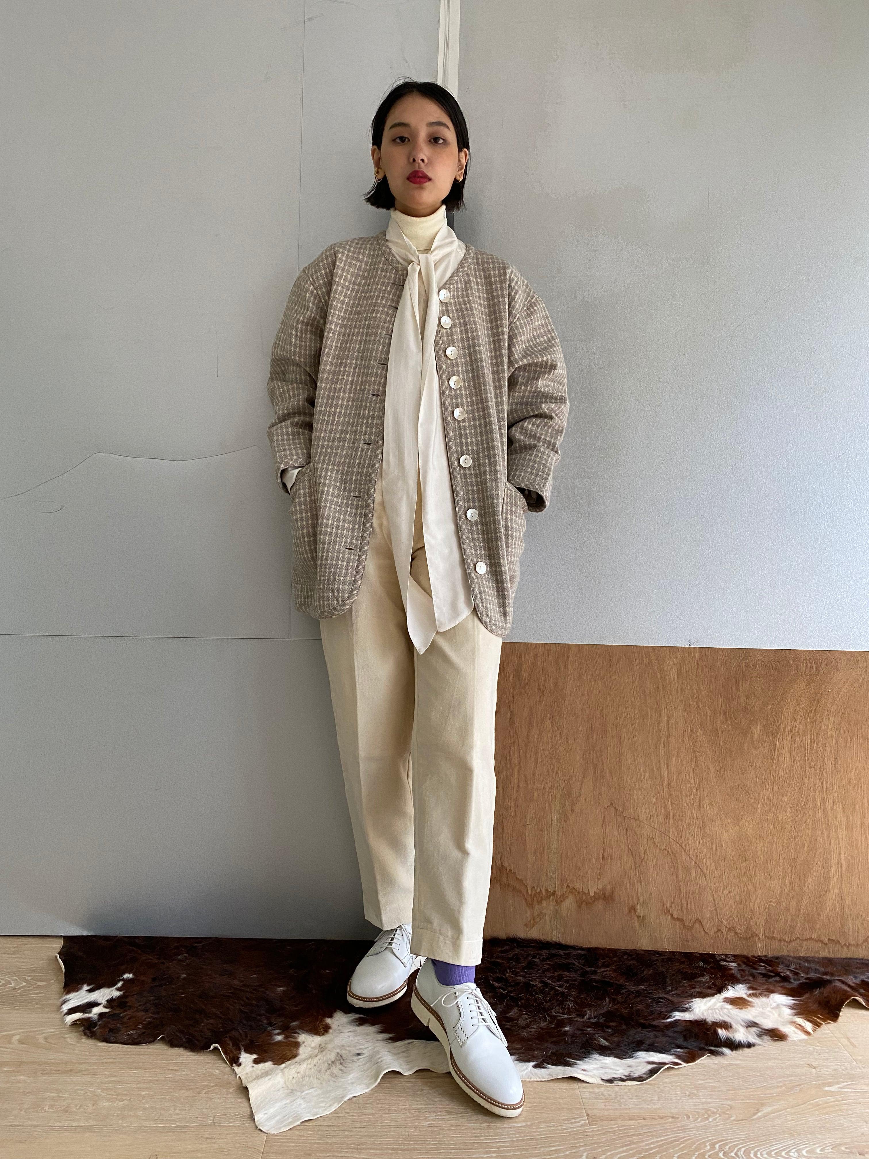 """High waist trousers """"white"""" cotton velvet"""