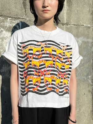 Vintage Cats Printed Short Length T Shirt Made In USA