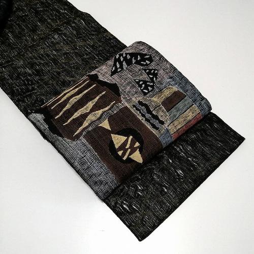 ★ 美品 袋帯 変わり織 幾何学 やわらか ★ 縁ちゃぶ c002
