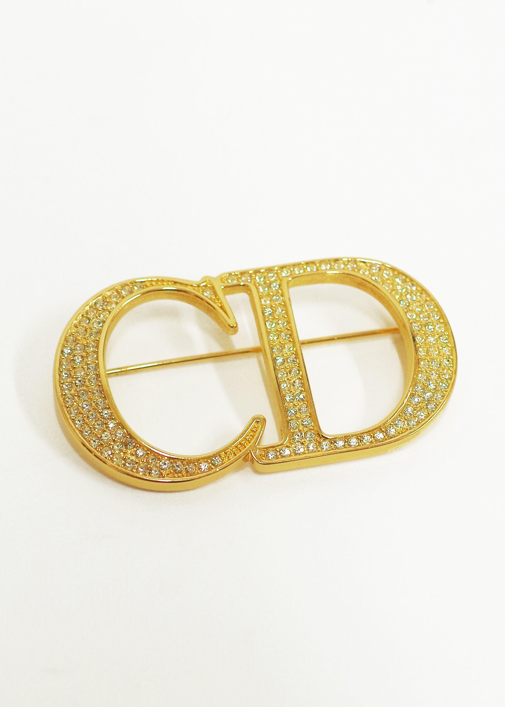 Christian Dior ディオール ラインストーンブローチ