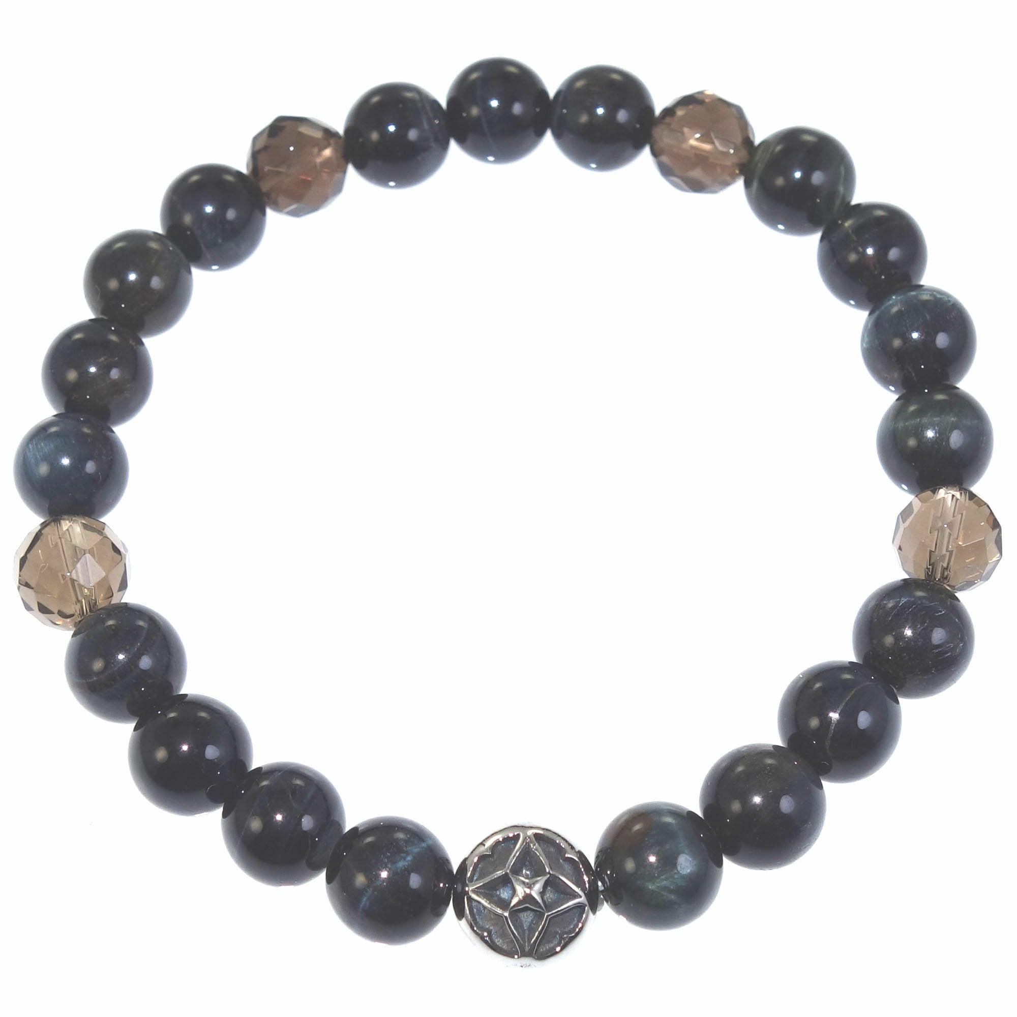 トレサリーブルータイガーアイ数珠ブレス ACB0100 Treasury Blue Tiger Eye Bead Bracelet