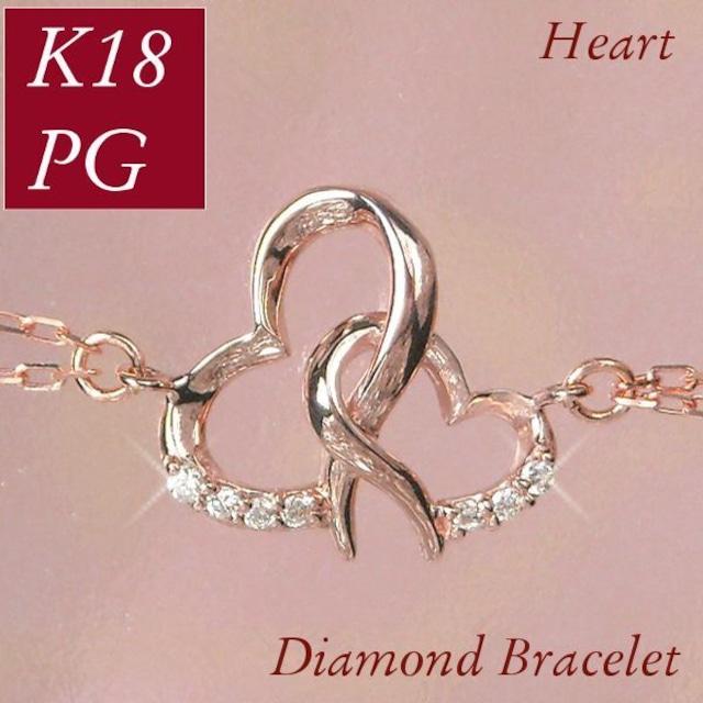 ダイヤモンド ブレスレット レディース 18金ピンクゴールド ハート ラインストーン