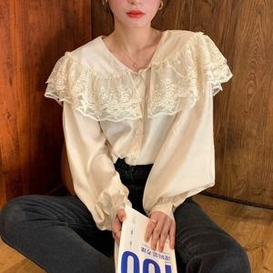 lace collar blouse[2103-33]