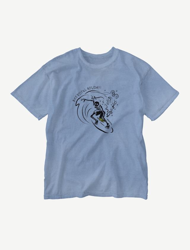 【サーフィンガイコツ】ウォッシュTシャツ(ジーパンブルー)