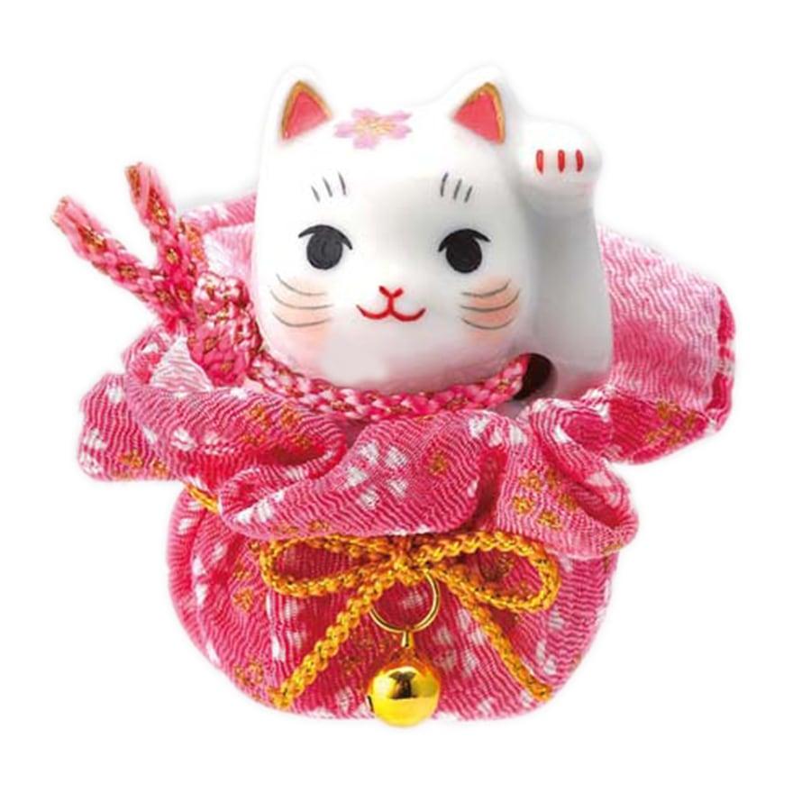 【商売繁盛】薬師窯招き猫 彩絵 桜巾着 招き猫 おめでたい縁起置物(左手上げ)