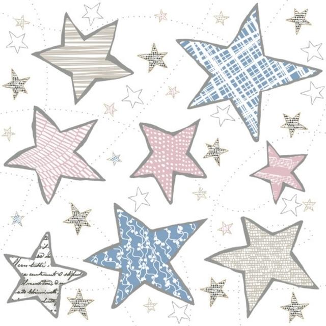 【Daisy】バラ売り2枚 ランチサイズ ペーパーナプキン Irregular Graphic Stars ホワイト
