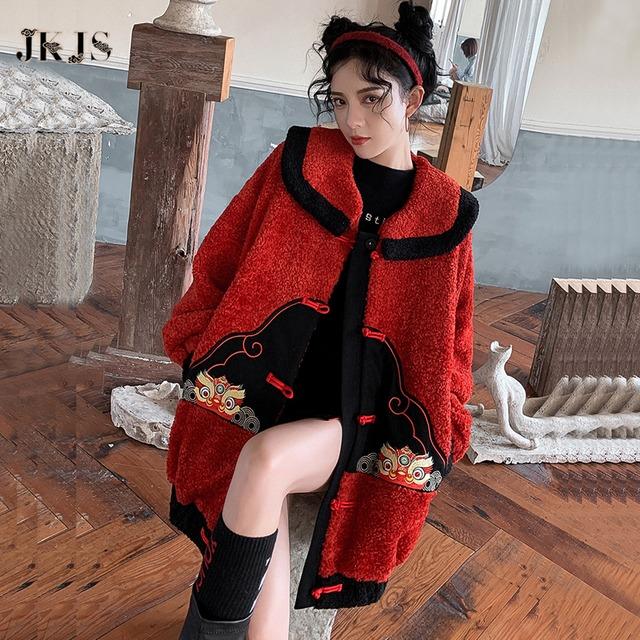 【JKJSシリーズ】★チャイナ風コート★ 防寒コート ライオン 刺繍 レッド 赤い チャイナ服 S M L XL 可愛い 改良漢服