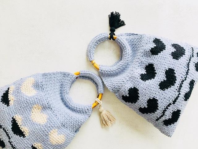 楽しい!かぎ針の編み込み模様『ハート模様のワンマイルbag』 by doliminue/ドリミーヌ