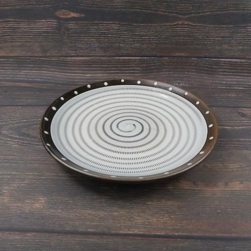 小石原焼 7.5寸皿 トビカンナ フチ茶 白ドット 上鶴窯