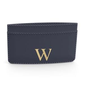 Premium Smooth Leather Card Case (Midnight Blue)