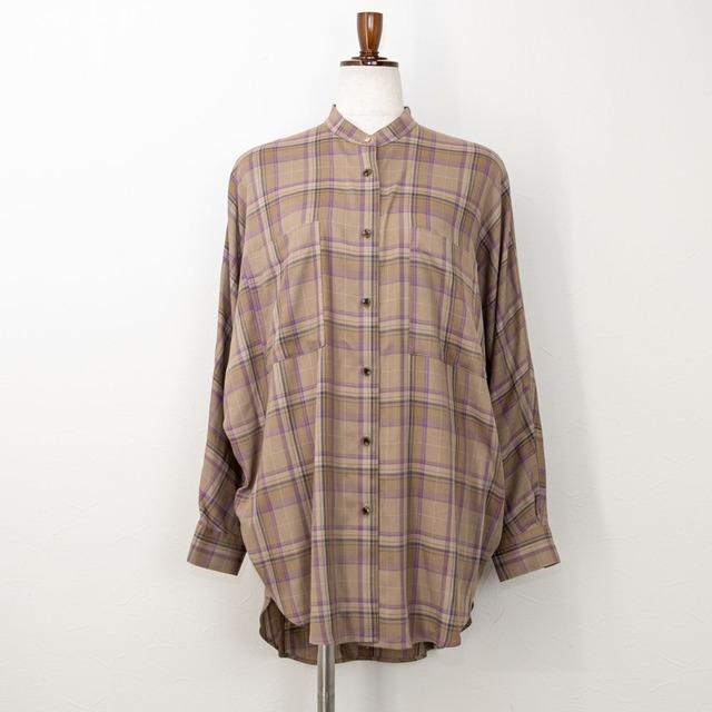 【QTUME/クチューム】バンドカラーチェックチュニックシャツ(ベージュ)