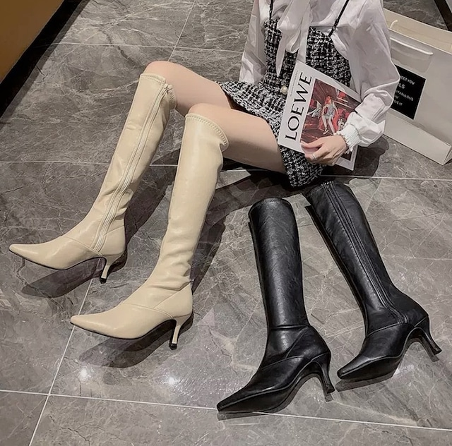 leather ping heal boots 2color