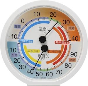 CRECER(クレセル) TR-170 | アナログ温湿度計 花粉・ダニ・カビ・熱中症・インフルエンザ注意目安表示