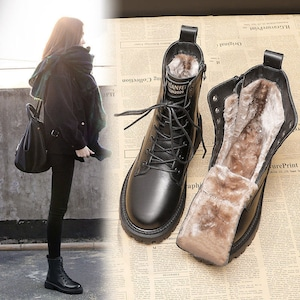 【シューズ】ファッション丸トゥミドルヒール暖かいショート丈ブーツ53574647