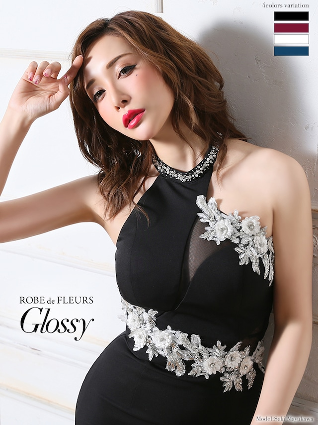 【ROBE de FLEURS Glossy】ホルターネック×ラグジュアリータイトミニドレス(GL1914)