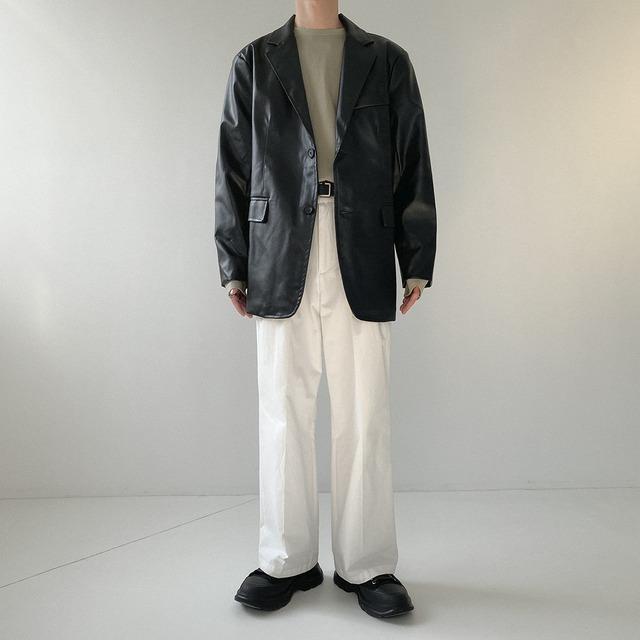 Imitation black leather jacket   b-477