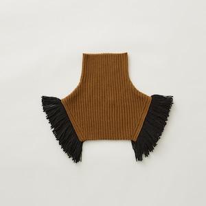 [再入荷]eLfinFolk  Rib knit cape (camel) S/M elf-212K10 メール便可