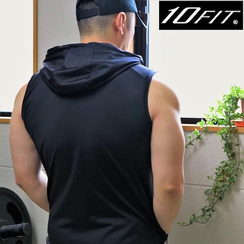 10FIT パーカータンクトップ トレーニング 筋トレ ボディビル メンズ TE-05 黒