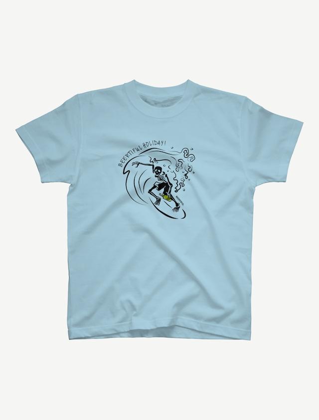 【サーフィンガイコツ】Tシャツ(ライトブルー)