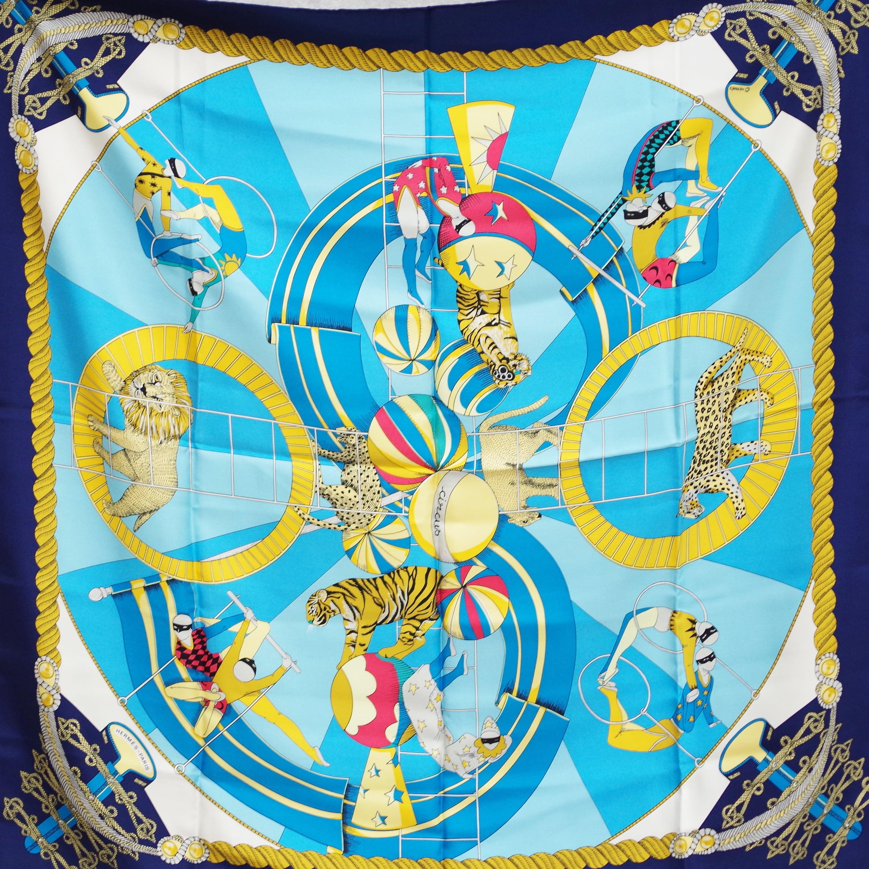 HERMES エルメス カレ 90 「サーカス」スカーフ タグなし ブルー シルク アクセサリー 小物